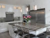 Modern kitchen remodeling in Calabasas, recess lights, pendents lights above the island, smart stop drawers and doors
